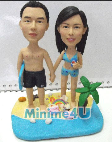 Sweet couple at the beach minime doll