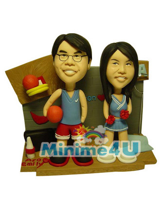 Basketball funs couple mini me doll