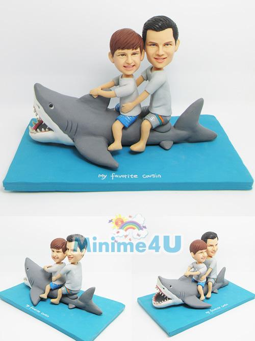 white shark attack theme figurine