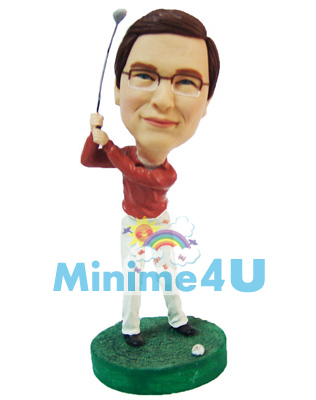 Playing Golf mini me doll