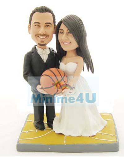 Wedding cake topper for basket ball player