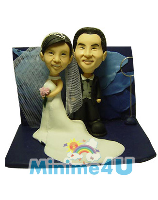 Wedding couple with dark blue background